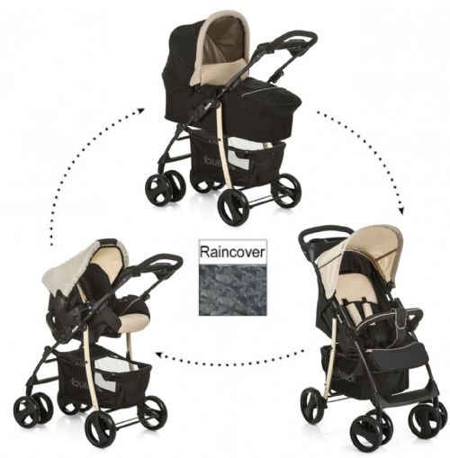 New Hauck Shopper SLX Trio Travel System Pushchair Pram Set Caviar Black Beige
